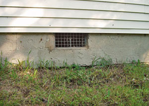 Open crawl space vents that let rodents, termites, and other pests in a home in Vidalia
