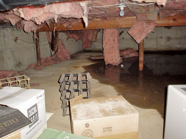 Great Fiberglass Insulation Dripping Off The Ceiling Of A Crawl Space In Bluffton.