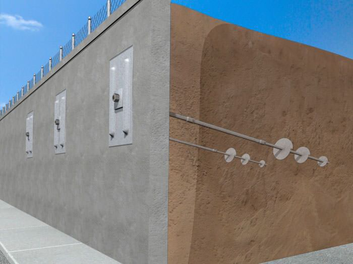 A Graphic Depiction Of A Helical Wall Anchor System Installation.