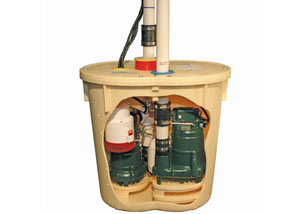 Cutaway view of a sump pump system before installation
