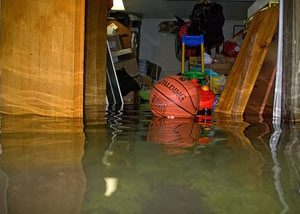 A flooded basement bedroom in Reidsville